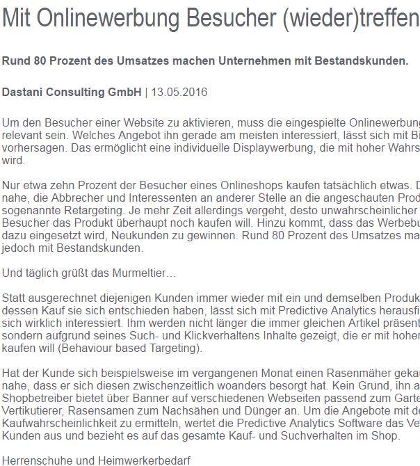 Onlinewerbung Article Screenshot