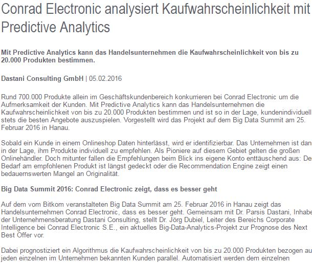Conrad Electronic nutzt Predictive Analytics Article Screenshot