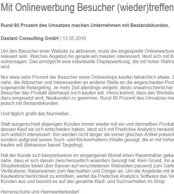 Onlinewerbung Article Screenshot