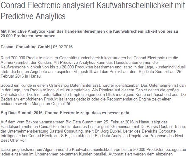 Conrad Electronic nutzt Predictive Analytics Article Screenshot