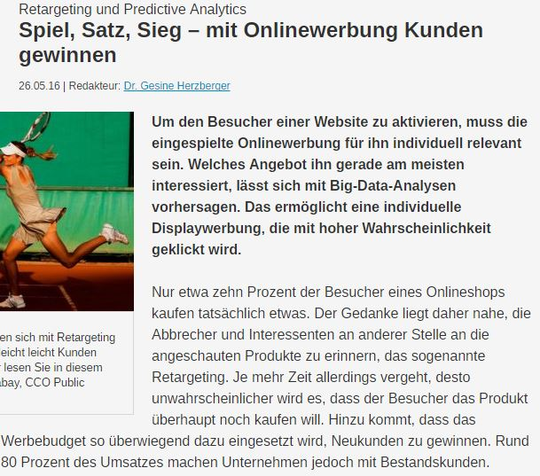 Retargeting und Predictive Analytics Article Screenshot