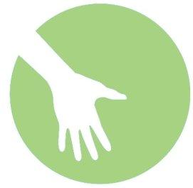 Logo: weisse Hand vor gruen farbigem Hintergrund