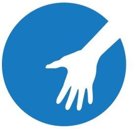 Logo: weisse Hand vor blau farbigem Hintergrund