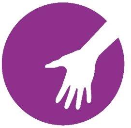 Logo: weisse Hand vor lila farbigem Hintergrund